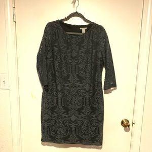 H&M 3/4 length sleeve lace charcoal dress